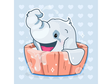 Cute elephant kawaii cartoon vector character preview picture