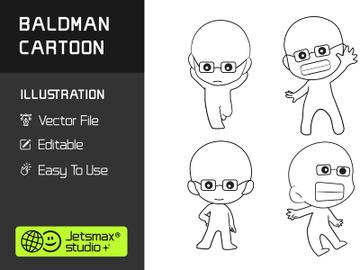 Baldman Cartoon Illustration Vector Bundle preview picture