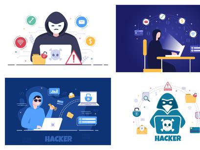 13 Hacker Vector Illustration