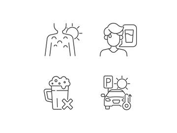 Sunstroke precaution linear icons set preview picture