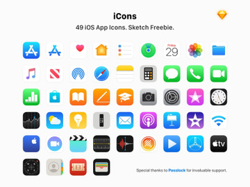 49 Apple App Icons - Sketch Freebie preview picture