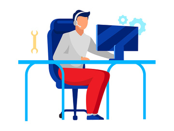 Technical support operator flat vector illustration preview picture