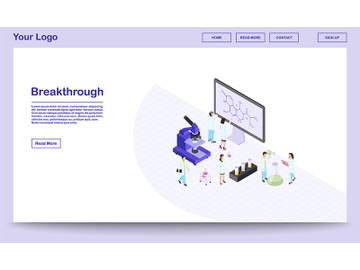 Scientific breakthrough isometric landing page template preview picture