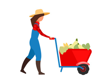 Female farmer transporting vegetables in wheelbarrow flat vector illustration preview picture