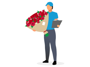 Flowers delivery service flat vector illustration preview picture