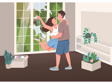 Young couple with new apartment key flat color vector illustration preview picture