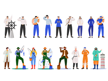 Maritime professions flat vector illustration preview picture