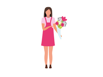 Young woman with flower bouquet semi flat color vector character preview picture