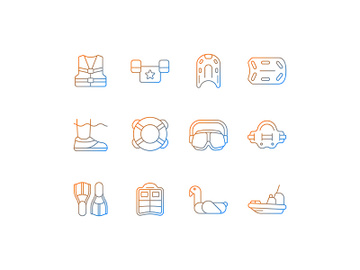 Pool floats and water safety equipment gradient linear vector icons set preview picture