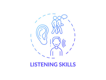 Listening skills blue gradient concept icon preview picture