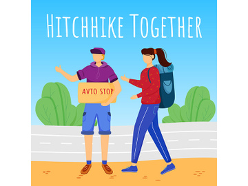 Hitchhike together social media post mockup preview picture