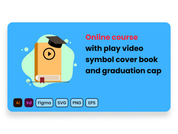Online course with play video sign on blue cover book and graduation cap. preview picture