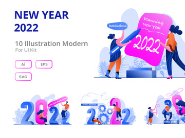 New Year 2022 Goal Flat Illustration preview picture