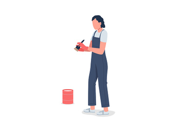 Woman preparing for whitewashing semi flat color vector character preview picture