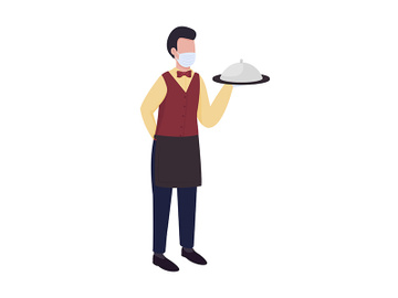 Waiter semi flat color vector character preview picture