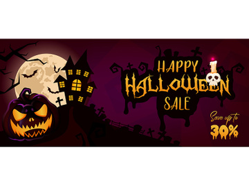Happy Halloween sale banner cartoon template preview picture