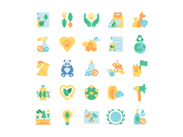 Ecology and wildlife protection vector flat color icon set preview picture