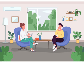 Individual session with psychologist flat color vector illustration preview picture