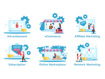 Business model flat vector illustrations set preview picture