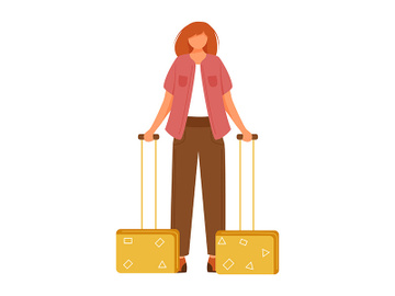 Young woman with suitcases flat vector illustration preview picture