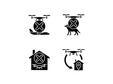 Drone instruction black glyph manual label icons set on white space preview picture