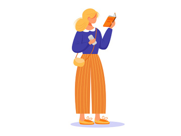 Girl reading book flat vector illustration preview picture