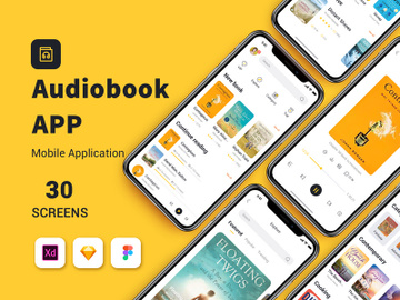 Yellow and black audiobook app UIkit preview picture