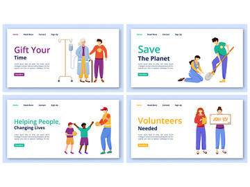 Charity activities landing page vector templates set preview picture
