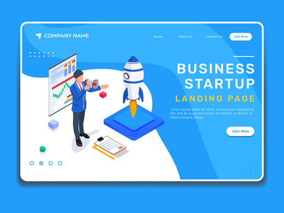Business startup illustration. Landing page template.