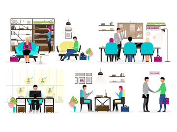 HR agency workers flat vector characters set preview picture