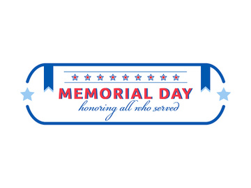 Memorial Day celebration flat color vector badge preview picture