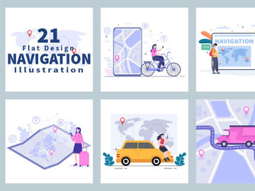 21 GPS Navigation Map and Compass Vector Illustration preview picture