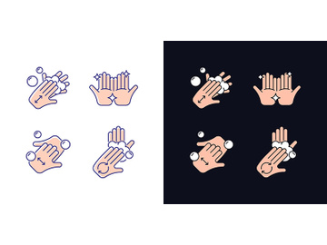 Washing hands instruction light and dark theme RGB color icons set preview picture