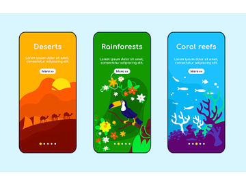Climate zones onboarding mobile app screen flat vector template preview picture
