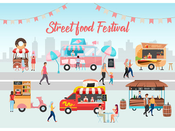 Street food festival poster vector template preview picture