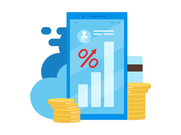 High interest rate loan, deposit flat vector illustration preview picture