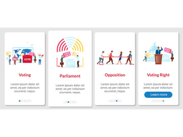 Election process onboarding mobile app page screen with vector template preview picture
