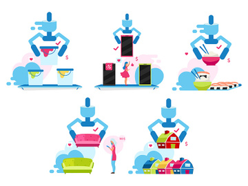 Customer making choice flat vector illustrations set preview picture