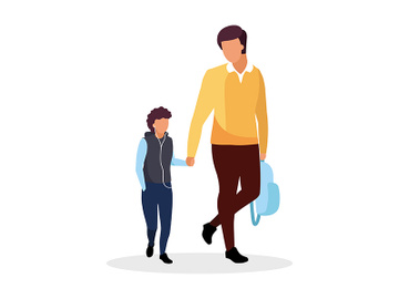 Dad with son walking to school semi flat color vector characters preview picture