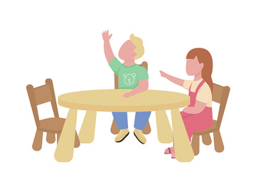 Kindergarteners raising hands semi flat color vector characters preview picture