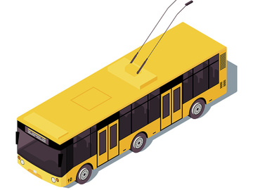 Trolleybus isometric color vector illustration preview picture
