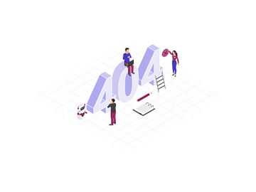 Solving 404 problem concept isometric illustration preview picture