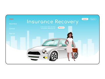 Insurance recovery landing page flat color vector template preview picture