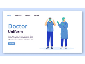 Doctor uniform landing page vector template preview picture