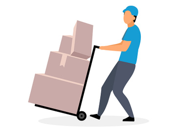 Loader man moving dolly cart flat vector illustration preview picture