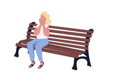 Pleased girl sitting on bench semi flat color vector character preview picture
