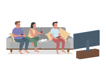 Family members playing video games semi flat color vector characters preview picture