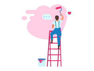 Young man choosing color for interior design flat vector illustration preview picture