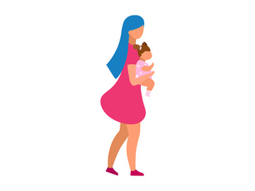 Mother embracing toddler girl semi flat color vector characters preview picture