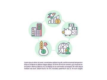 Types of stocks concept line icons with text preview picture
